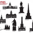 Stock Vector: Silhouettes of U.S. cities
