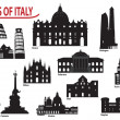 Silhouettes of Italian cities - Stock Vector