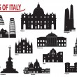 Stock Vector: Silhouettes of Italian cities