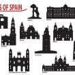 Silhouettes of cities in Spain - Stock Vector