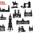Silhouettes of cities in the UK — Stock Vector