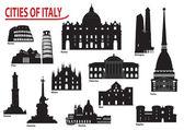 Silhouettes of Italian cities — Stock Vector
