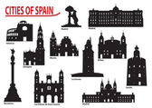 Silhouettes of cities in Spain — Stock Vector