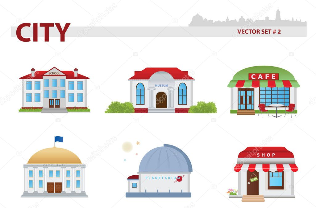 Public building cartoon. Set 2. School, museum, cafe, parliament, planetarium, shop — Stock Vector #19400301