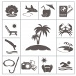Tropic resort icons — Stockvectorbeeld