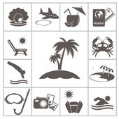 Tropic resort icons — Stok Vektör
