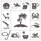Tropic resort pictogrammen — Stockvector
