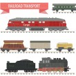 Trains. Railroad set — Imagen vectorial