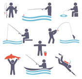 Fishing symbols — Stock Vector
