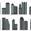 Silhouettes of skyscrapers — Stock Vector