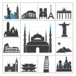 Stock Vector: Landmark travel icons