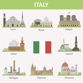 Italy. Symbols of cities — Stock Vector