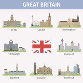 UK. Symbols of cities — Stock Vector