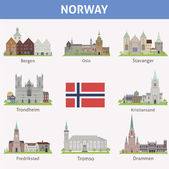 Norway. Symbols of cities — Stock Vector