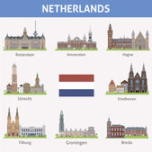 Netherlands. Symbols of cities — Stock Vector