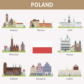 Poland. Symbols of cities — Stock Vector