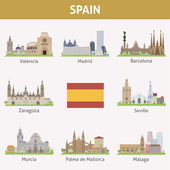 Spain. Symbols of cities — Stock Vector