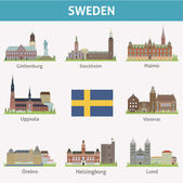 Sweden. Symbols of cities — Stock Vector