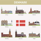 Denmark. Symbols of cities — Stock Vector
