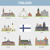 Finland. Symbols of cities — Stock Vector