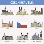 Czech republic. Symbols of cities — Stock Vector