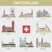 Switzerland. Symbols of cities. Vector set — Stock Vector
