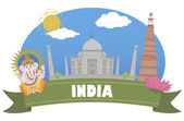India. Tourism and travel — Stock Vector