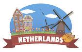 Paesi Bassi. viaggi e turismo — Vettoriale Stock