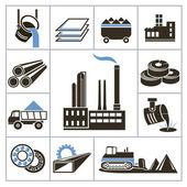 Heavy industry icons — Stock Vector