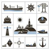 Ship. Set for you design — Stock Vector