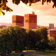 Sundown Park and City Hall (Radhuset), Oslo, Norway - Stock Photo
