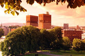Sundown Park and City Hall (Radhuset), Oslo, Norway — Stock Photo