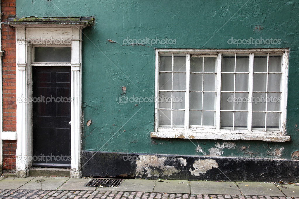 Old classic victorian door and window in England, UK  Stock Photo #14964107