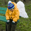 Royalty-Free Stock Photo: Little boy angel  outdoors