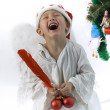 Boy as christmas angel — Photo
