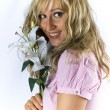 Blonde with madonna lily — Stock Photo