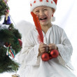 Boy as christmas angel — 图库照片