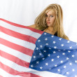 Blonde with USA flag — Stock Photo #15409571
