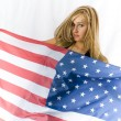 Stock Photo: Blonde with USA flag
