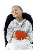 Angel with red heart — Stock Photo