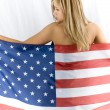 Blonde with USA flag — Stock Photo