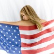 Blonde with USA flag — Stock Photo #15418583