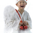 Boy as christmas angel — Stock Photo