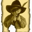 Antique page - wanted with portret of little cowboy — Stock Photo
