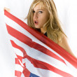Blonde with USA flag — Stock Photo #15425113