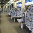 Contemporary train interior. Empty seats. - 