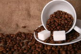 Cup and Background coffee beans with sugar. — Stock Photo