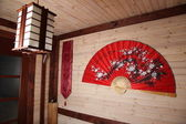 A traditional Chinese room with Big fan — Stock Photo