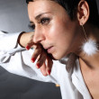 Sad depression woman with tears - Stockfoto