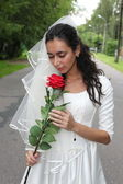 Bride with a rose — Stock Photo